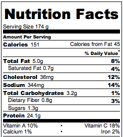 halibut recipe nutritional info