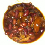 Slow Cooker Peaches-Bacon Baked Beans
