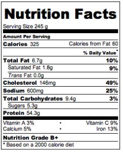 Island Chicken Nutritional Info