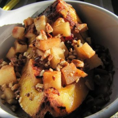 Crock Pot Sweet Acorn Squash with Apples and Craisins