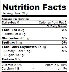 Crock Pot Mixed Berry Fruit Punch - Nutrition