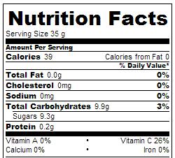 Crock Pot Strawberry Jam - Nutrition