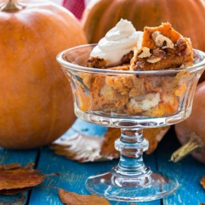 **Slow Cooker Bourbon Spiked Pumpkin Bread Pudding