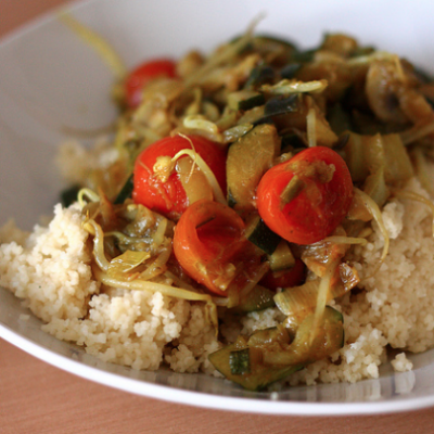 Slow Cooker Curried Vegetables over Couscus