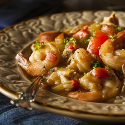 **Slow Cooker Shrimp and Sausage Gumbo