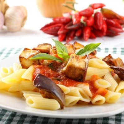 Slow Cooker Penne Pasta with Eggplant Sauce **