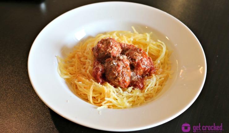 ** Slow Cooker Spaghetti Squash & Meatballs
